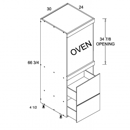 Tall One Oven with Two Drawer Utility