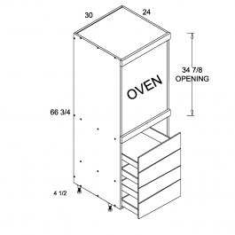 Tall One Oven with Four Drawer Utility