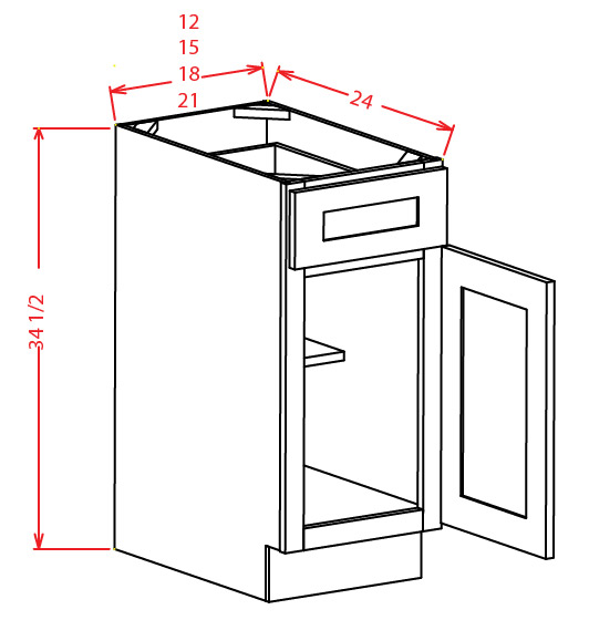 Single Door Single Drawer Base Cabinet