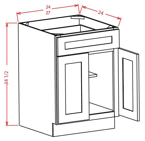 Double Door Single Drawer Base Cabinet