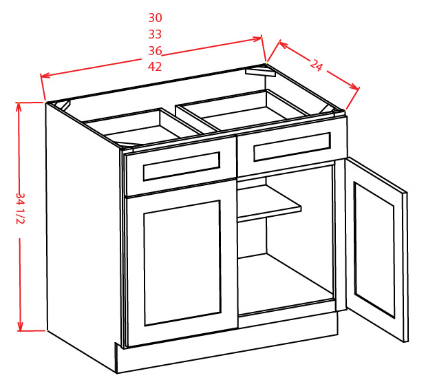 Double Door Double Drawer Base Cabinet